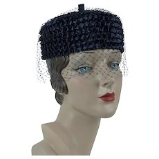 1960s Vintage Hat, Navy Blue Straw Pillbox w/ Thick Veiling, Susan, Sz 21
