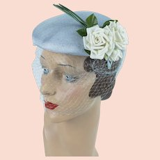 1950s Hat, Pale Blue Structured Beret, White Roses and Veiling, Vintage Close Hat