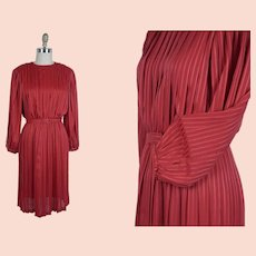 1980s Dress, Bright Red Pleated Dress, Balloon Bishop Sleeves, Size 10 Petite