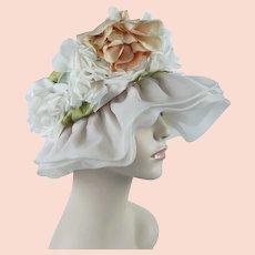 1960s Vintage Hat, Ivory Chiffon Floppy Brim, Silk Floral Floppy Brim Hat, Chiffon Wide Brim, Gigi, Sz 22