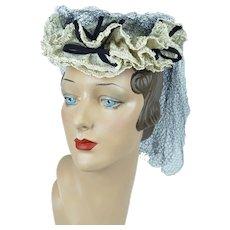 1940s Tilt Hat, White Straw Ruffled Tilt Hat, Navy Blue Netting, Best and Company, New York Creations