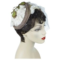 1950s Vintage Hat,  Structured Floral English Half Hat, Tissue Silk Petals by Otto Lucas