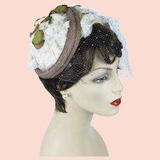 1950s Vintage Hat,  Structured Floral English Half Hat, Tissue Silk Petals by Otto Lucas