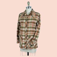 1970s Wool Plaid Jacket, Colorful Vintage Jacket w/ Pockets, B36 W36