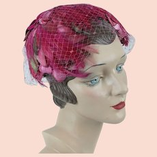1960s Vintage Hat, Hot Pink Clip Hat, Shades of Pink Silk Petals and Feathers Half Hat