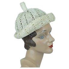 1960s Vintage Hat, White Open Weave Straw Beanie, Novelty Rolled Brim Cap, Reggi of Wilshire, Sz 21