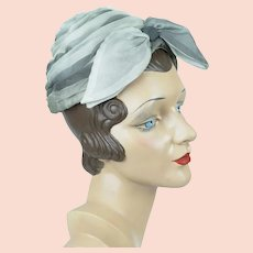 Vintage Hat, Grey Ombre Draped Turban, 1970s Turban, Shirley Chapeaux, Sz 21