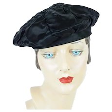 1960s Vintage Hat, Black Satin Ruched Banded Beret by Sally Victor, Sz 22
