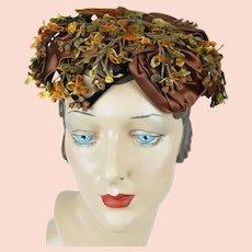 1960s Vintage Hat, Autumn Floral Wreath Hat