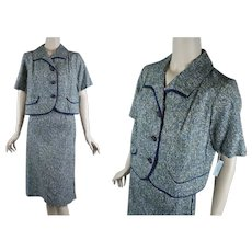 1960s Suit, 2 Piece Blue Green Jacket and Skirt, NOS, Deadstock, Modern Classics, B40 W30