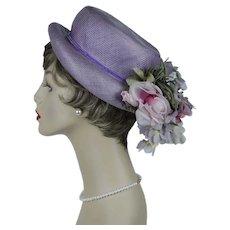 1960s Vintage Hat, Lilac Straw Bonnet w/ Silk Florals, G Howard Hodge, Size 21