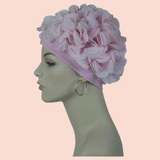 1970s Vintage Pink Petal Turban, Pink Knit Turban Stretch Hat