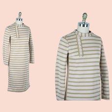 1960s Vintage Dress, Cream and Tan Stripe Double Knit Straight Dress, Sz S, Size Small, B34