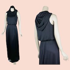 1970s Hoodie Goth Maxi Dress, Black Poly Hooded Formal Gown Dress, Sz 11