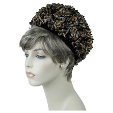 Jacques Heim 1960s Hat, Black and Bronze High Rise Pillbox, Cello Straw Hat, Sz 21