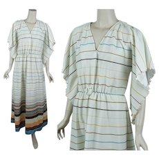 70s - 80s Angel Sleeve Maxi Dress, B38 Sz M - L