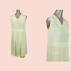 Vintage 1920s dress, Lemon Silk Day Dress, Art Deco 20s Dress, Sz XS, B32