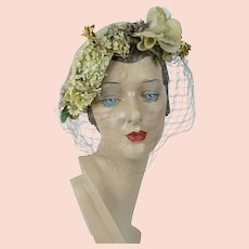 1950s Vintage Hat, Tan Straw Asymmetrical Close Hat, Veiled and Flowered