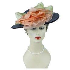 Vintage Picture Hat, Navy Blue Straw Wide Brim w/ Tangerine Floral, Sz 21