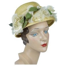 1960s Vintage Hat, Yellow Straw Bonnet w/ Silk Florals, Sz XS, Size 20