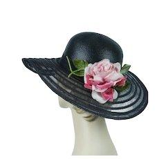 Vintage Picture Hat, Black Straw Floppy Brim, Velvet and Silk Pink Floral, Sz 22