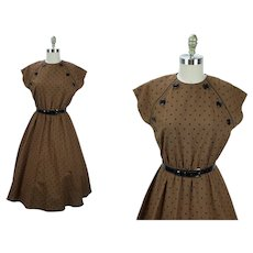 1980s Vintage Dress, Brown and Black Polka Dot Full Skirt, Leslie Fay, Sz 14, B40