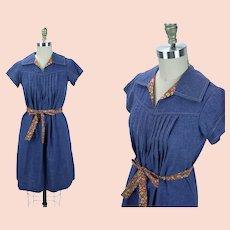 1960s Vintage Denim Dress, Shift Style w/ Red Calico Trim B38 Sz S-M