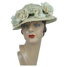 1960s Vintage Hat, Ivory Straw Brimmed Cloche w/ Silk Flowers, The Hat Rack, Sz 20