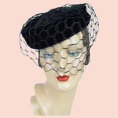 1950s Vintage Hat, Black Velvet Veiled Cocktail Pillbox by Pola