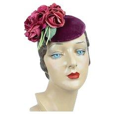 1940s Vintage Hat, Fuchsia Velvet Tilt w/ Bouquet of Pink Roses, Fascinator