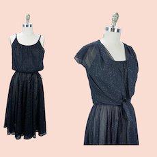 1970s Party Dress, Black and Gold Jersey Dress, Spaghetti Straps w/ Shrug, Lehigh 70s Dress, Sz S-M