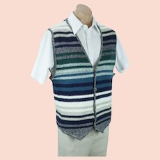Jantzen Knit Vest, 1990s Mens Striped Cotton Knit Vest, Sz XL/TG, Chest 42
