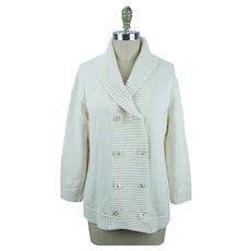 Ralph Lauren Cotton Sweater, Shawl Collar Double Breasted, Ivory Cotton Cardigan, Big Lebowski, Size XL, B42