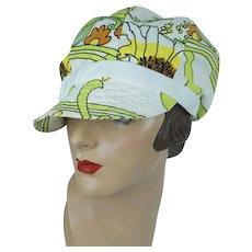 1970s Golf Hat, Ladies MOD Flower Power Cap, Citizens Federal Golf Cap, MOD Brimmed Cap, Sz 21