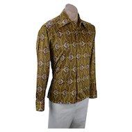 Mens 1970s Nylon Shirt, Leonardo Strassi Club Shirt, Bronze Medallion Shirt, Size S