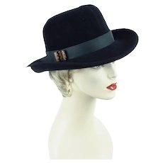 Ladies Black Fur Felt Fedora, 80s Black Fedora, Gwenn Pennington Hat, Vintage 90s Hat, Sz 22