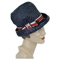 1960s Straw Snap Brim Fedora, Red, White and Blue Straw Patriotic Hat, Sz 21