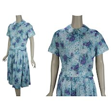 50s - 60s Two Piece Floral Skirt and Blouse, Teal and Lilac Flowered Set, Suit, B36 W28