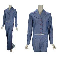 MOD Denim Pants Suit, Hip Huggers Bell Bottoms, Denim and Red 60s Pants Suit, Size 11/12, B36 W29