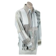 Mens 1980s Nylon Shirt, Beige, Taupe, Black Abstract Pattern Club Shirt, Jaime Roman, Size L