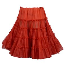 Bright Red Crinoline, 1950s Full Ruffled Crinoline, Fashion Magic by Genie, Size Large