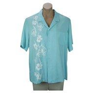 Mens Hawaiian Shirt, Teal and White Flowered Hans Jutte Shirt, Cotton Summer Hawaiian Shirt, Chest 50