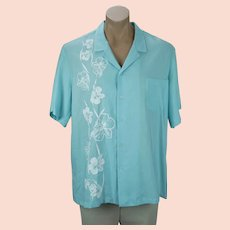 Mens Hawaiian Shirt, Teal and White Flowered Hans Jutte Shirt, Cotton Summer Hawaiian Shirt, Chest 50