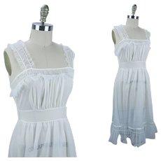 1950s Bridal White Sheer Nightgown, White Lacey San Souci Nightie, Sz 5/24, B34 W27