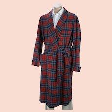 Red Tartan Plaid Wool Robe, Authentic MacLean Tartan, Washable Wool Robe, Size XL, Chest 52