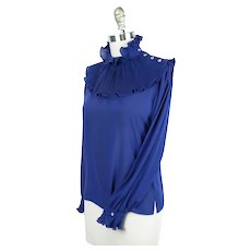 1960s Royal Blue Ruffle Neck Blouse, Casual Corners, Vintage Size 7, B36