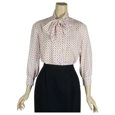 1970s Blouse, Polka Dot with Bow by Sportempos, Sizez 15/16, B42