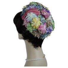 1960s Vintage Hat, Multi Colored Silk Floral Pillbox