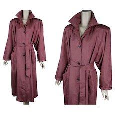 80s Rain Coat, Tomato Red and Black Checks, 1980s Oversize Weather Coat, Vtg Sz 8, B44