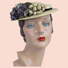 1950s Vintage Hat, Natural Straw Boater w/ Violets by Hal Ballin